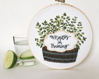 Mojitos in training embroidery hoop / plant art / kitchen decor / bar decor