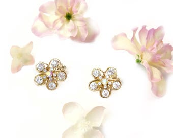 Clear Crystal Clip On, Iridescent Crystal Rhinestone, Flower Crystal Clip On, Gold Tone Crystal Earring, Floral Clip On Earring