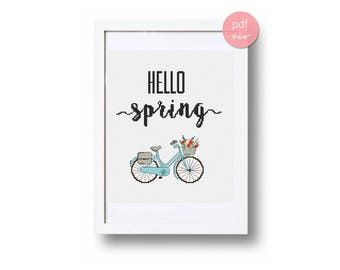Hello spring cross stitch pattern Spring pattern pdf Wall decor Flower home decor Modern cross stitch pattern Embroidery pattern Chart
