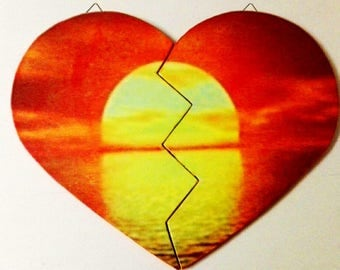 Wooden heart shape picture-made and hand painted-photo-decoupage customizable-gift Idea He/she-Valentine's Day gift