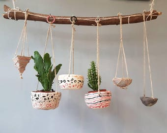 The Spotty Dotty and Wobbly Lines Collection - Ceramic, hanging planter, succulent pot, plant pot, home studio pottery, pinch pot.