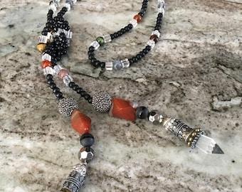 Jet Mixed Metal Gemstone Beaded Lariat Necklace