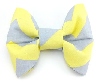 Pale yellow and grey - Pet bow tie