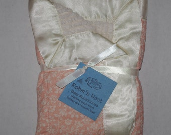 Baby Blanket - Sm Peek-a-Boo Cotton Chenille with Satin - Pink Floral