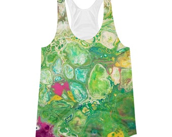 Kush Abstract Print Tank Top, Psychedelic Print, Psychedelic Shirt, Weed Green Tank Top, Women's Racerback Tank Top, Made to Order