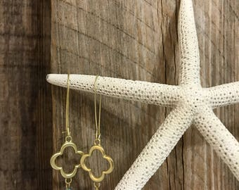 Gold & Turquoise Dangle Earrings~
