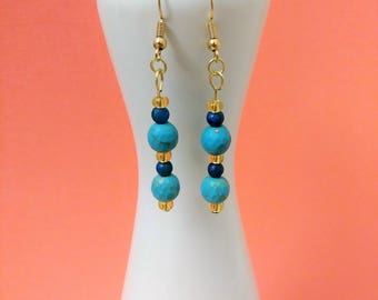 18k Gold Plated Turquoise Dangle Earrings