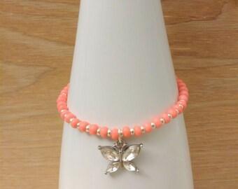 Coral Beaded Butterfly Bracelet