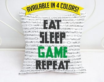 Gamer Throw Pillow - Eat Sleep Game Repeat - 18x18 Throw Accent Pillow Home Decor Gift for Gamers Valentine's Day Gift