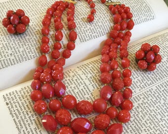 Vintage Hong Kong Red Plastic Bead Necklace & Earring Set