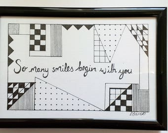 Valentines -You Many Smiles Beging With You- Typography and Illustration- Quote