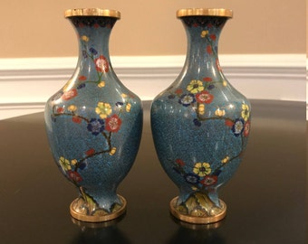 Chinese Blue Cloisonne Vases - Brass and Enamel Cherry Blossoms Vintage