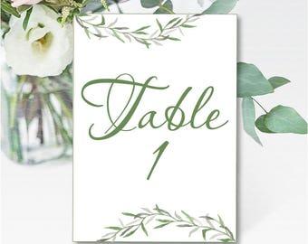 Botanical wedding table number printable Greenery wedding table decor Green wedding decoration Laurel wedding table serving - DIGITAL