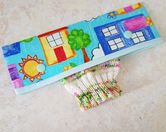 DPN holder, colourful houses, needle cosy, dpn cozy, needle cover, double pointed needle case, knitting, knitting gift