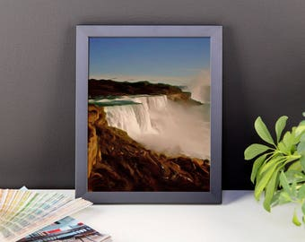 "Classic landscape painting ""Majestic Niagara Falls"" by Malinee Ganahl. Framed Fine Art Lustre Print.  Outdoor nature iconic waterfalls."