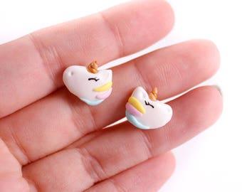 Unicorn earrings, unicorn studs, cute earrings,  funny earrings, unicorns earstuds,post earrings ,kawaii, for girl, gift for teenager, fimo