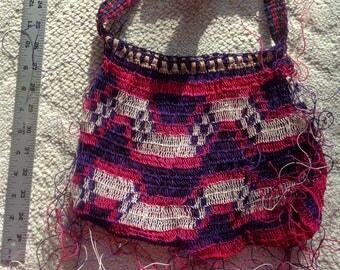 Bilum -Pink & purple string bag, Valentine's Day gift, Colorful handmade purse, Colorful kid's bag, Woven purse, Gift for kids, Gift for her