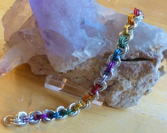 Silver and Rainbow Chainmaille Bracelet