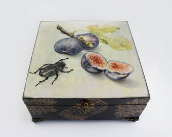 Wooden Box Home decor Decorative Box Vintage Box Storage drawer Jewelry Box Memory Box Decoupage box Decoupage Decor Gift