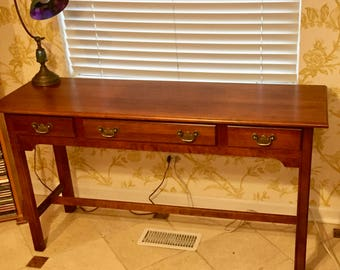 Cherry wood Sofa Console Table with three Drawers Colonial style