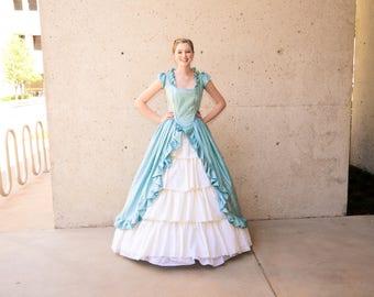 Blue Ruffled Cinderella Ball gown