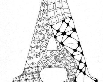 Instant Download Coloring Page Letter A