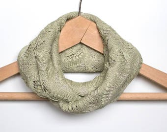 Knit Endless Infinity Scarf, Lace Shawl, Circular Light Green Lace Scarf, Natural Materials Silk and Merino Wool, Womens Winter Neck Warmer