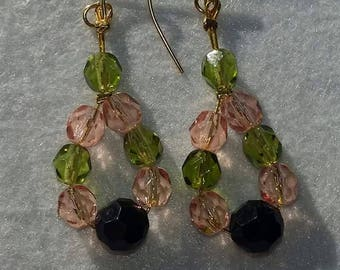 Faceted beaded earrings, pink earrings, green earrings, black earrings, fashion earrings, stylish earrings, fashion