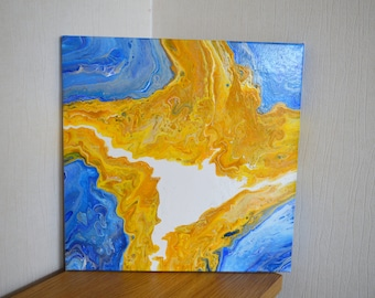 White Light - An Original Acrylic Pour Abstract Painting 40 x 40cms Canvas - Yellows, Gold, Blues, Silver and White