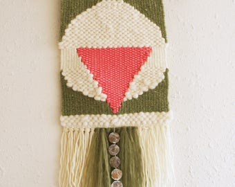 Hot pink upside down triangle or stork face wall hanging