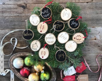 Hand-Lettered/Drawn Wooden Ornaments
