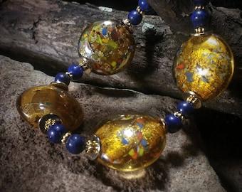 Vintage Lampwork and Lapis beaded bracelet from TenbearTrading