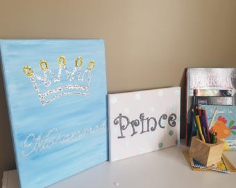 Personalized canvas with glittery name and crown