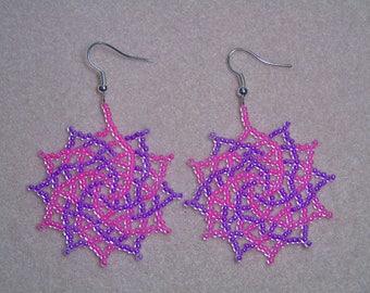 Seed bead Luminous Spiral  Earrings