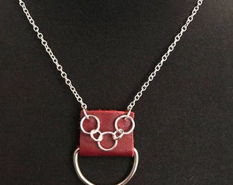 Red leather pendant with chainmaille detail