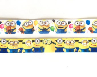 "Minions 7/8"" 22 mm Grosgrain Ribbon for Hair Bows Scrapbooking Crafts Party Cake Birthday Decoration"