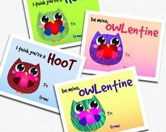 Printable DIY Owl Valentines