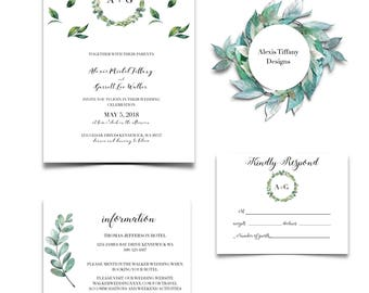 Printable Greenery Wedding Invite