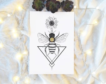 Geometric Honey Bee Insect Daisy Flower illustration Watercolour Original Art Print Poster
