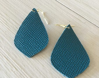 Turqouise leather earrings/lightweight statement earrings