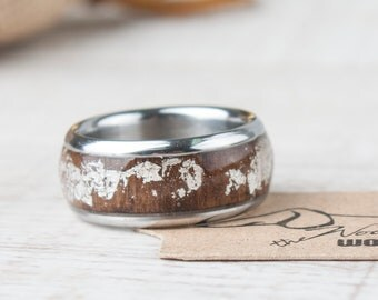 Wood Jewelry Resin Jewelry Stainless Steel Ring Wedding Ring Men Wood Ring Women Wood Ring Rustic Stainless Steel Ring Wedding Ring Women