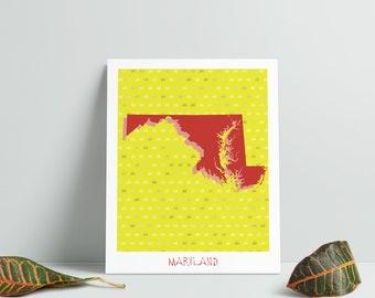 Maryland Wall Art - Maryland Map - Maryland Print - Maryland Instant Download - Maryland Decor - Maryland Printable