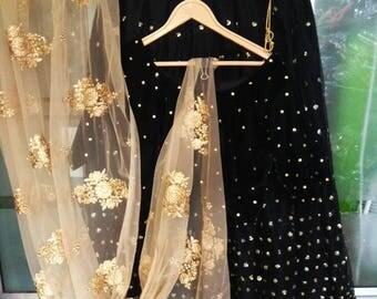 Black Lehenga Made to order Indian Pakistani designer Golden Work Heavy Lengha Choli dupatta for women exclusive wedding party wear