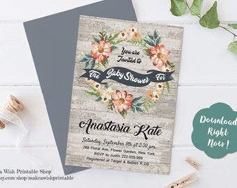 Wreath Baby Shower Invitation, Rustic Floral Baby Shower Invitation Template, Rustic Wood Baby Shower Invite, Printable Baby Shower Invites