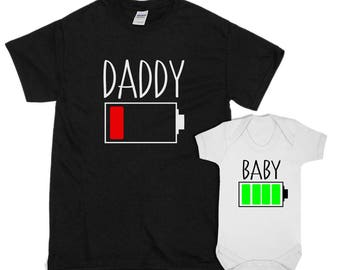 Daddy & Baby Matching T-Shirt With Baby Vest - BATTERY POWER Fathers Day Gift Present