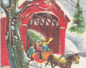 Vintage 1960s Christmas card with red covered bridge