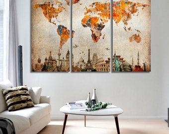 World Map 3 Pieces Canvas Panels Art,Large World Map,World Map Wall Art,World Map Push Pin,World Map Canvas,World Map Art Print,World Map
