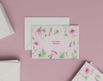 Botanical card | my lovely Mom | aquarelle illustration | Convolvulus | blank inside