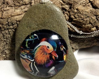 Mandarin Duck and Montana Rock Necklace / bird necklace, animal necklace, natural, hand made by Montana Artist