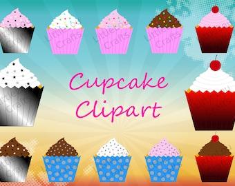 21 Cupcakes Clip art, Digital File Download